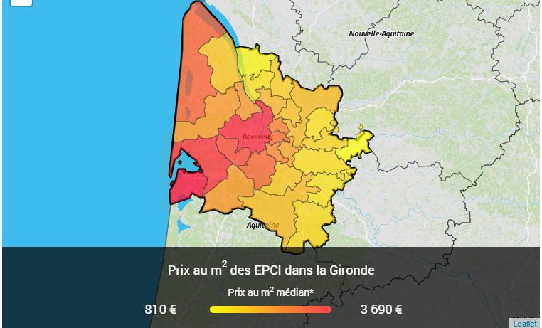 prix médiant m2 immo 33 3e trim 2018, échelle EPCI