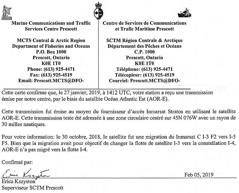 Lettre-QSL du MCTS Prescott Canada 190213021535973123