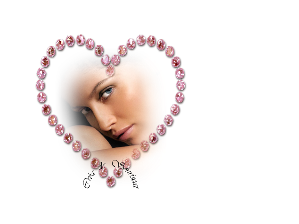 coeur diamant rose et yeux bleus