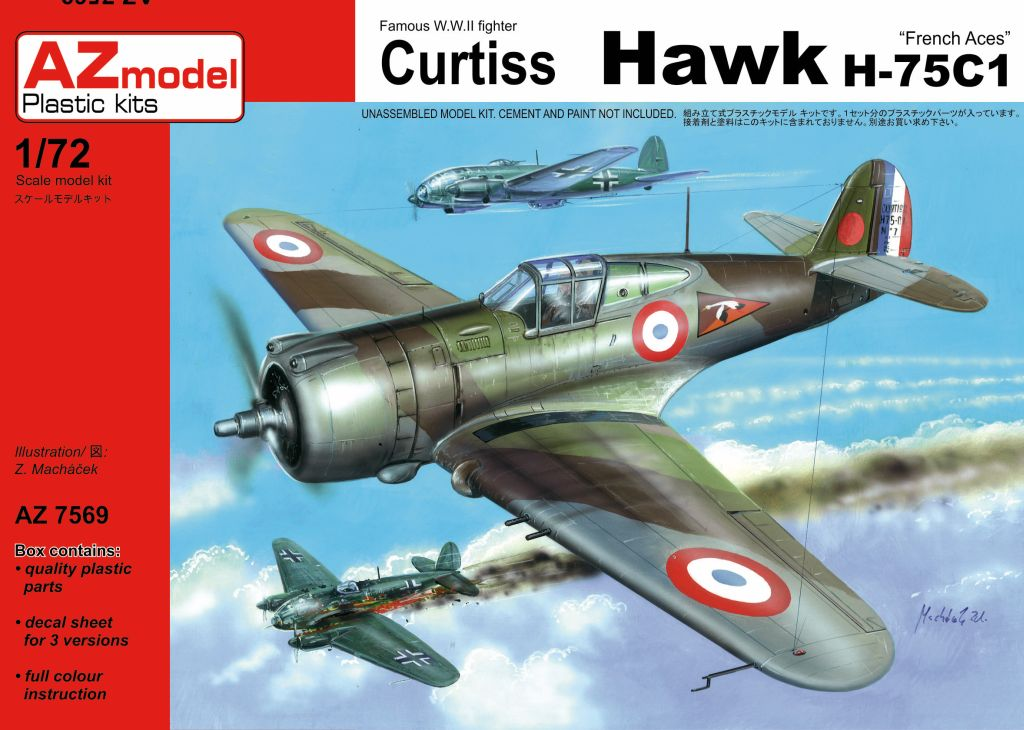curtiss - AZ 1/72 ...  H-75c1 de chez CURTISS - avion FAFL de MILAN... 190327070006472967