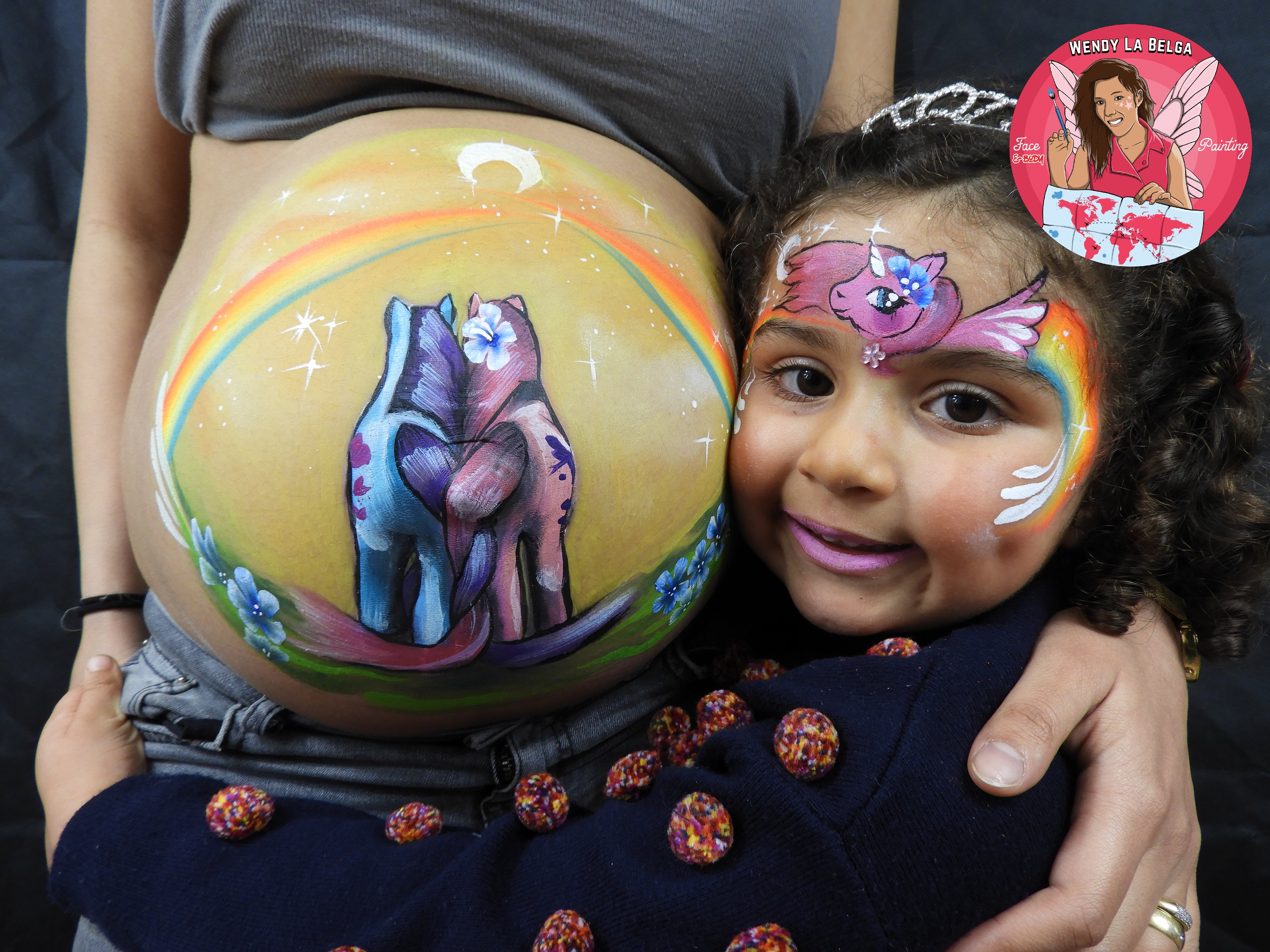wendy la belga facepainting body painting body painting  belgique grimeuse maquillage enfant belly painting licorne univorn