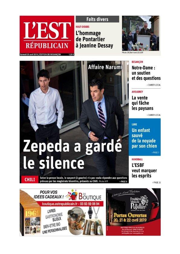 L'Est Républicain Besançon du samedi 20 avril 2019