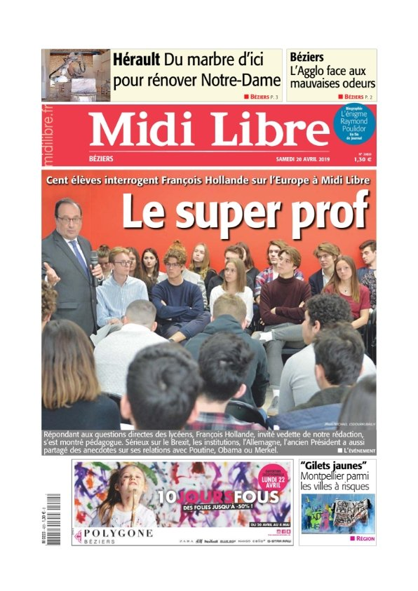Midi Libre Béziers du samedi 20 avril 2019