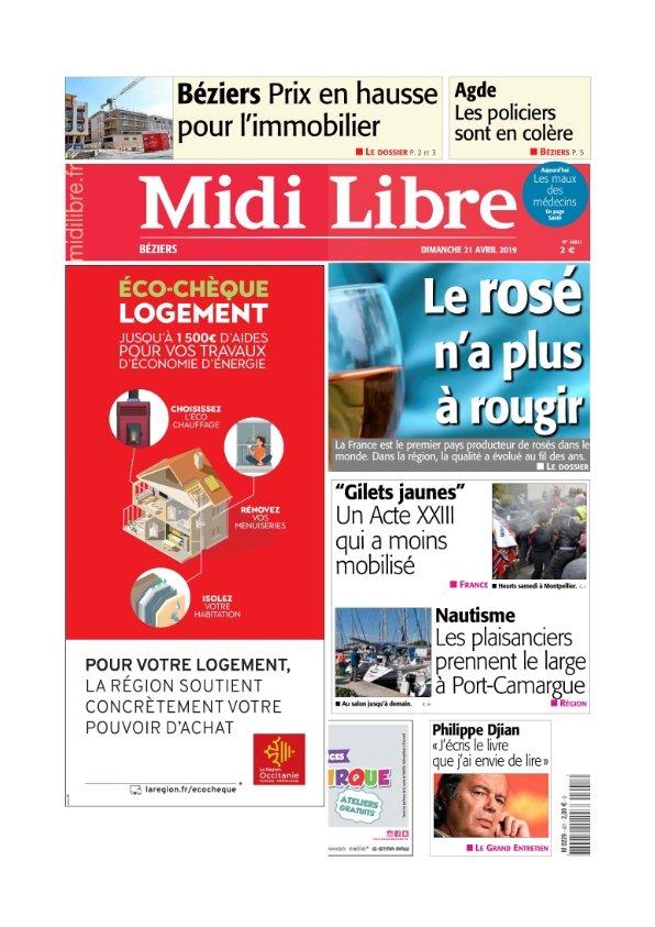 Midi Libre Béziers du Dimanche 21 avril 2019