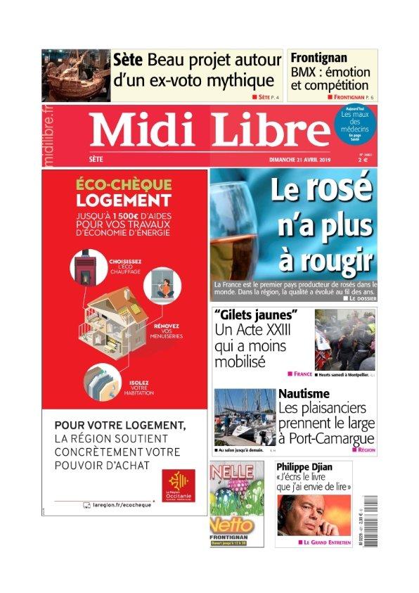 Midi Libre Sète du Dimanche 21 avril 2019