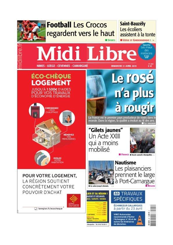Midi Libre Nimes Uzège Camargue Cévennes du Dimanche 21 avril 2019