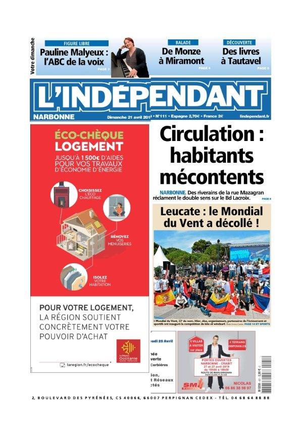 L'indépendant Narbonne du Dimanche 21 avril 2019
