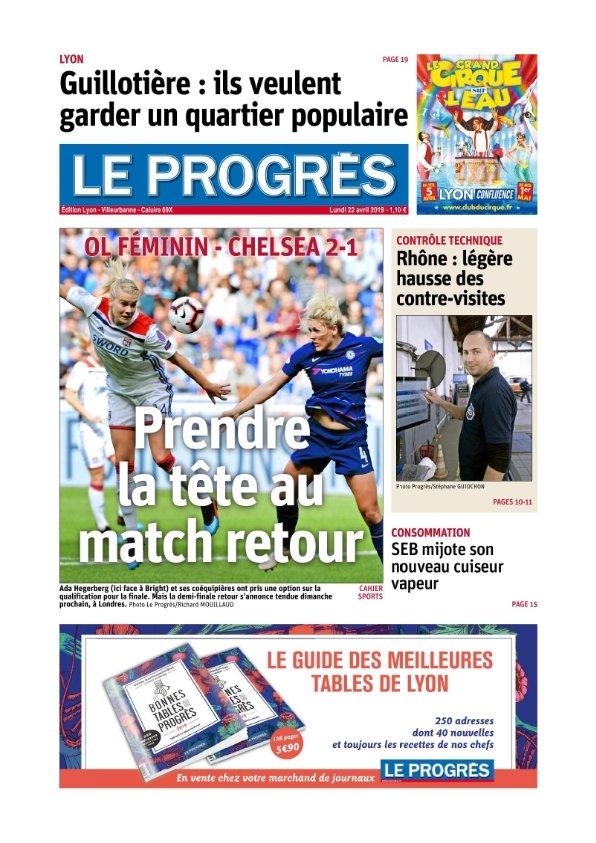 Le Progrès Lyon du lundi 22 avril 2019