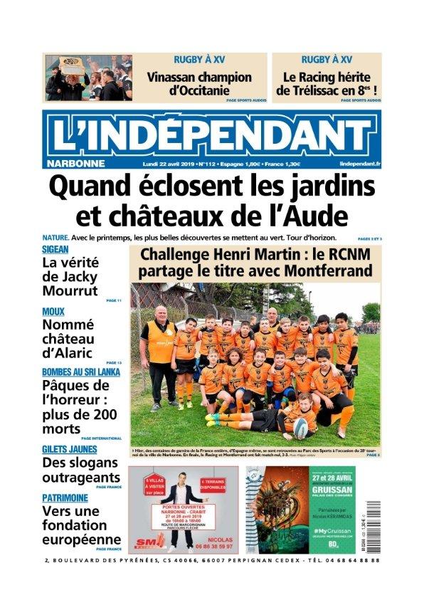 L'indépendant Narbonne du lundi 22 avril 2019
