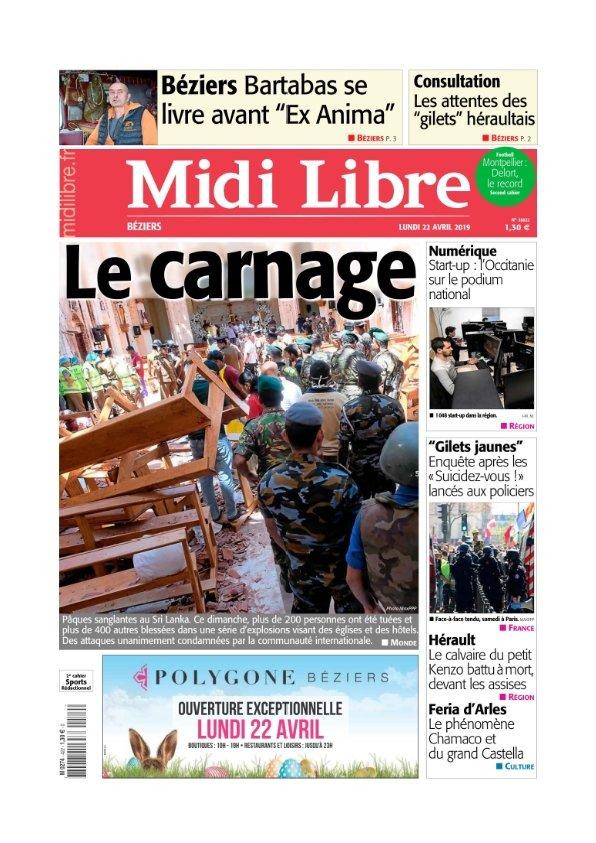 Midi Libre Béziers du lundi 22 avril 2019