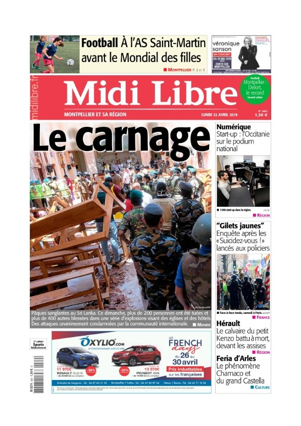 Midi Libre Montpellier du lundi 22 avril 2019