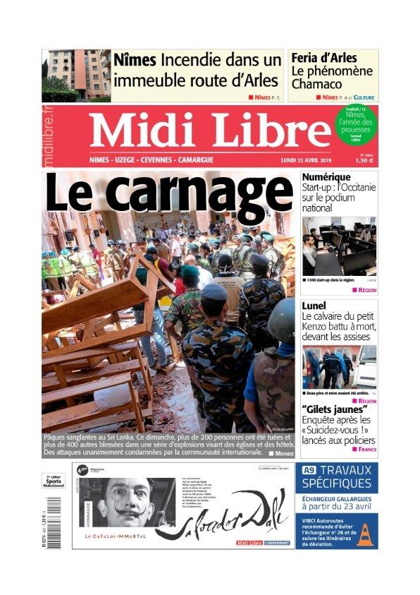 Midi Libre Nimes Uzège Camargue Cévennes du lundi 22 avril 2019