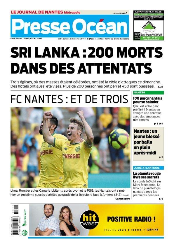 Presse Océan Nantes du lundi 22 avril 2019