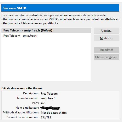 connexion au serveur smtp smtp free fr a expir?