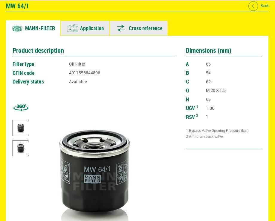 Mann Filter MW 64_1
