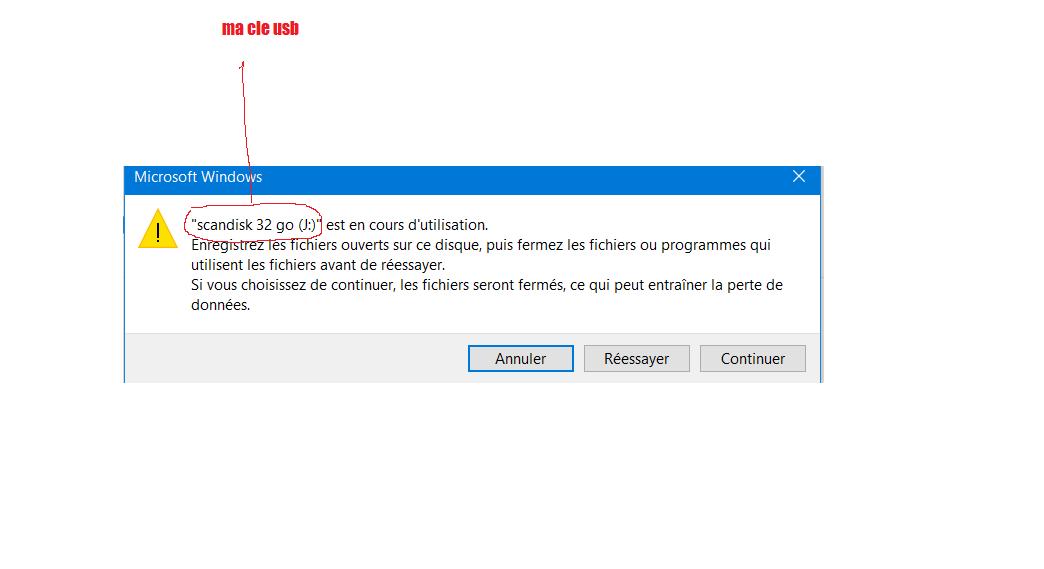 erreur windows ejection cle usb  juin 2019