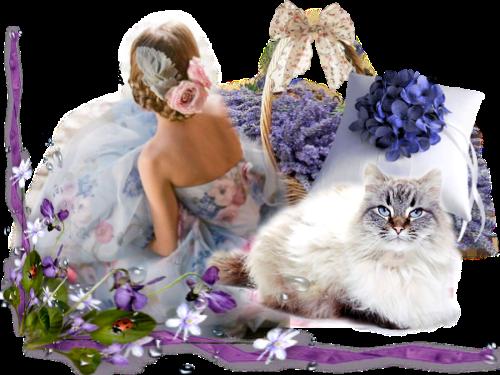 panier de lavande.pnget belle femme et chat