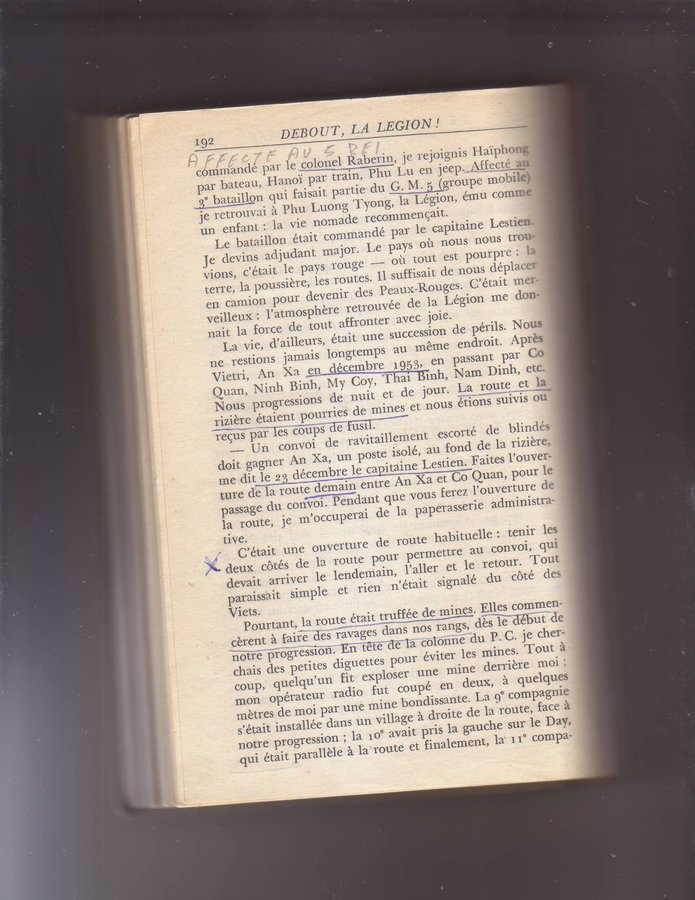 """Etrait de """"Debout la légion"""" du Capit. HORA - 3/5 REI - 12° Cie opérations en Ndo. 19070801245812905"""
