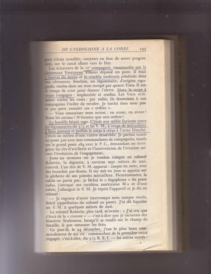 """Etrait de """"Debout la légion"""" du Capit. HORA - 3/5 REI - 12° Cie opérations en Ndo. 190708012714608210"""