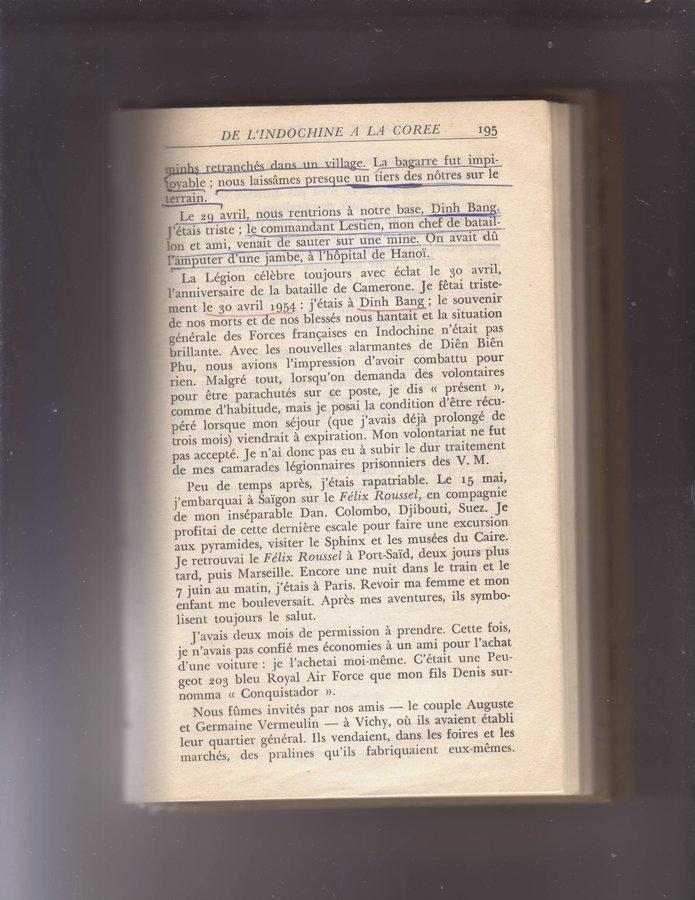 """Etrait de """"Debout la légion"""" du Capit. HORA - 3/5 REI - 12° Cie opérations en Ndo. 190708013150524334"""