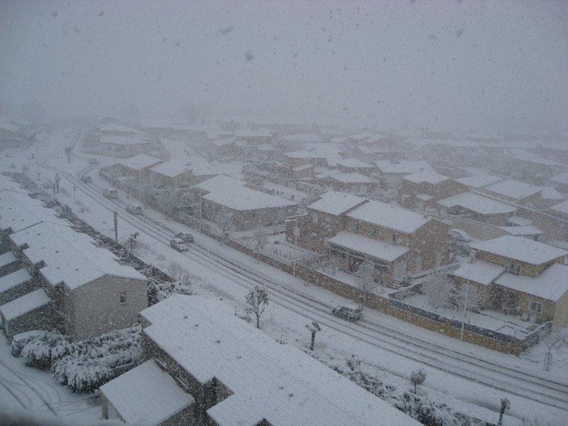 Perpignan sous la neige en 2011