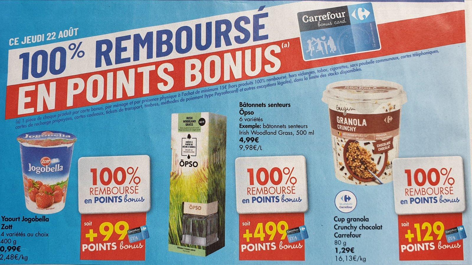 Carte Carrefour Hyper.Carrefour Hyper Produits 100 Rembourse En Point Bonus Jeudi