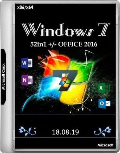 Windows 7 SP1 52in1 + Office 2016 18.08.19 (x86/x64)
