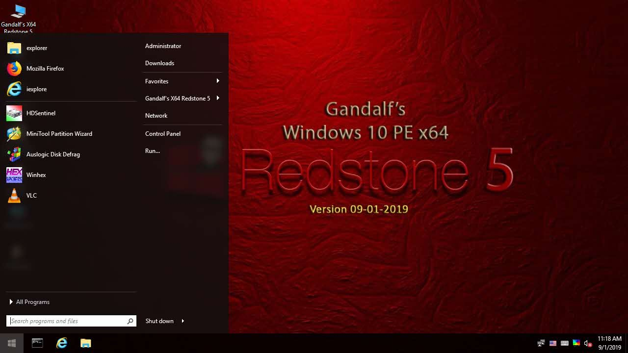 Gandalf's Windows 10 PE x64 – Version 1809 – Build 17763