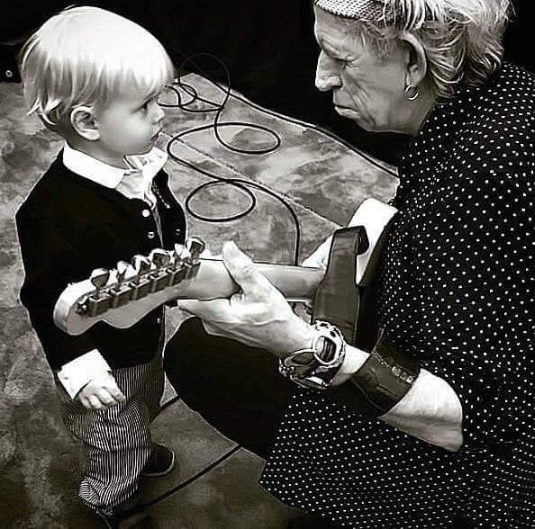 Keith Richards with Mick Jagger?s grandson, Ray