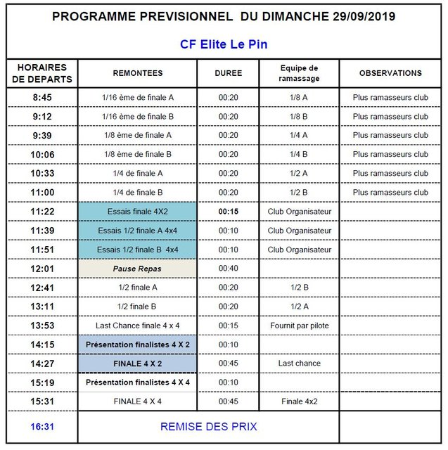 timing dimanche 29-09-19