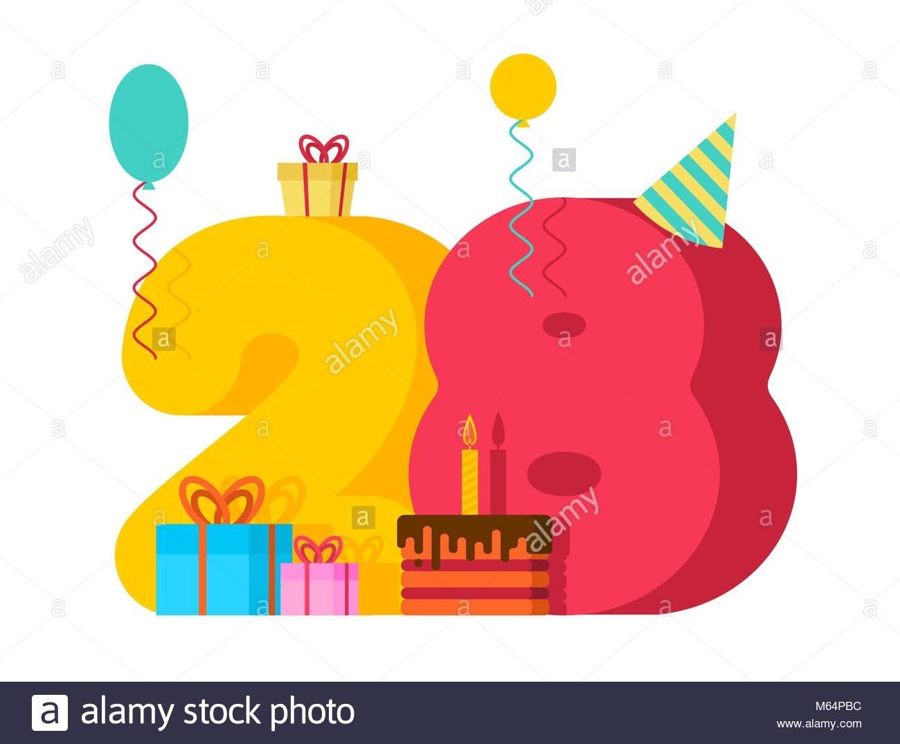carte-de-voeux-anniversaire-28-ans-28e-anniversaire-du-modele-vingt-huit-nombre-et-festif-du-gateau-avec-bougie-ballon-et-boite-cadeau-m64pbc
