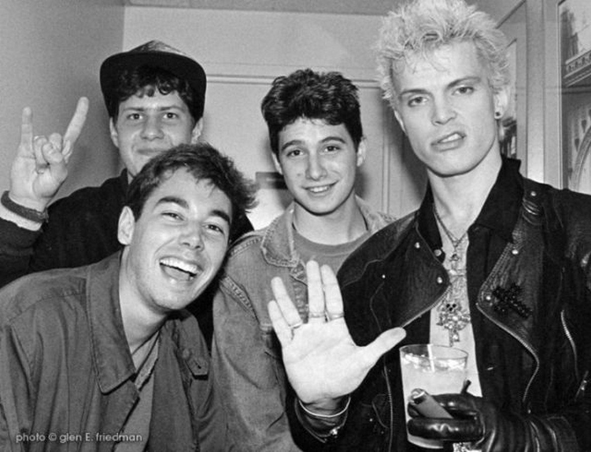 Beastie Boys & Billy Idol backstage at Madonna's Virgin Tour, 1985