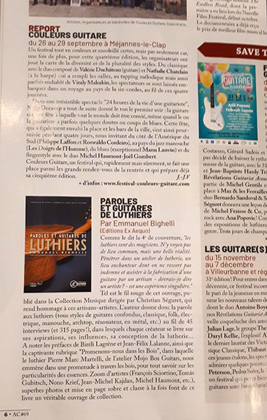 Livre Paroles & Guitares de Luthiers - éditions Ex-Aequo 191030020207303252