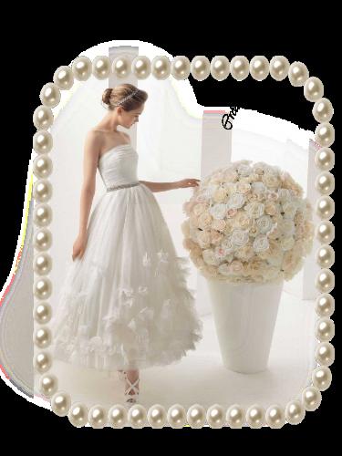 cadre perles et mariée et gros bouquet