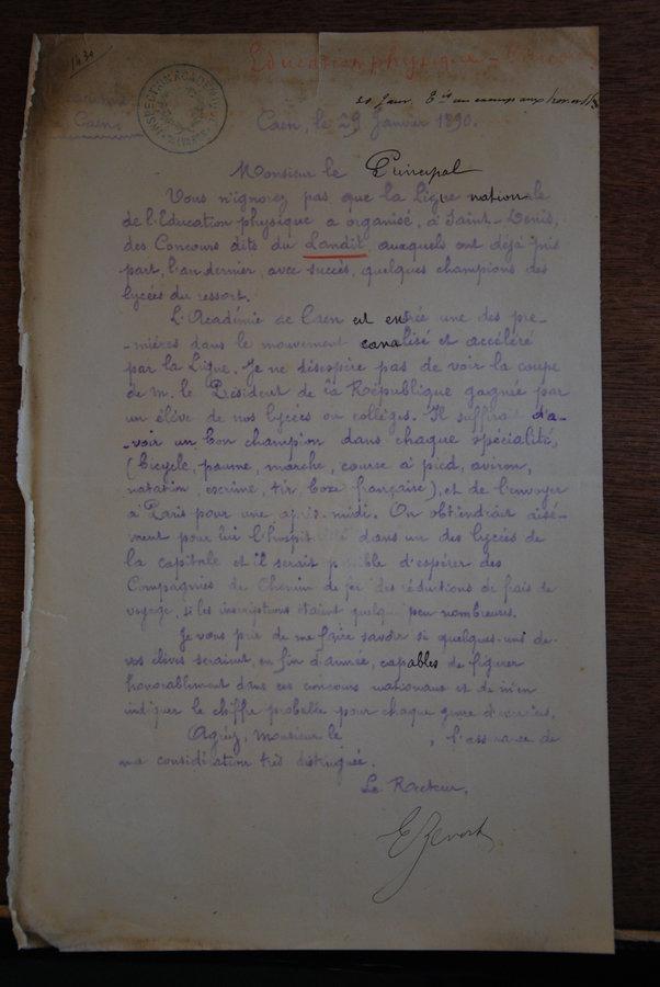 janvier 1890 lettre de Zévort au principal du Lycée de Caen pour déclencher le mouvement des Lendits en Normandie