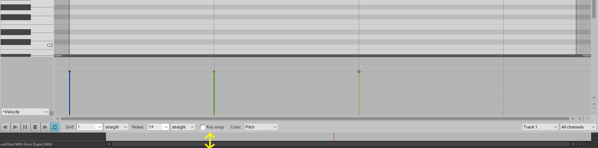 MIDI editor not expanded