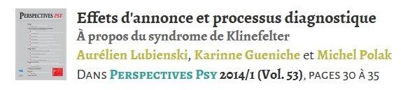 Effets d'annonce et processus diagnostique à propos du syndrome de Klinefelter - 2014 - PDF payant 19121305145780146