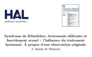 Syndrome de Klinefelter, érotomanie délirante et harcèlement sexuel : l'influence du traitement hormonal - 2012 - PDF 191213060021643166