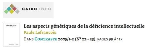 Les aspects génétiques de la déficience intellectuelle - 2005 - PDF 191213063028519361