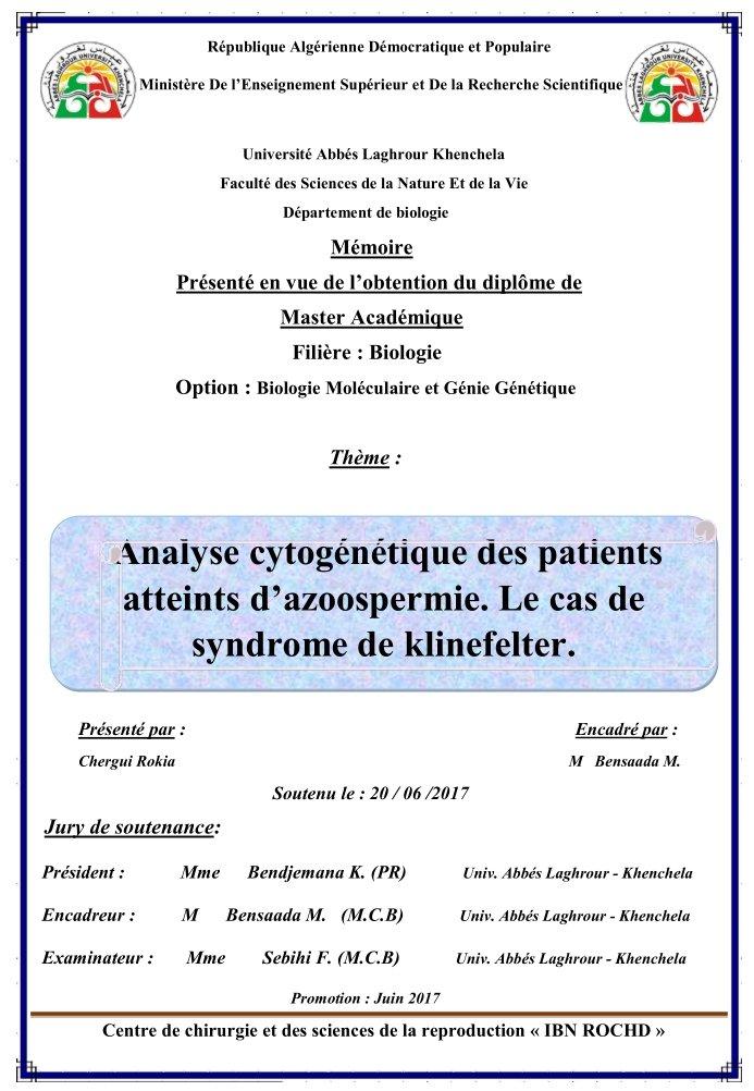 Mémoire master biologie - Analyse cytogénétique des patients atteints d'azoospermie - Le cas de syndrome de Klinefelter - Algérie - 2017 - PDF 191215070113800232