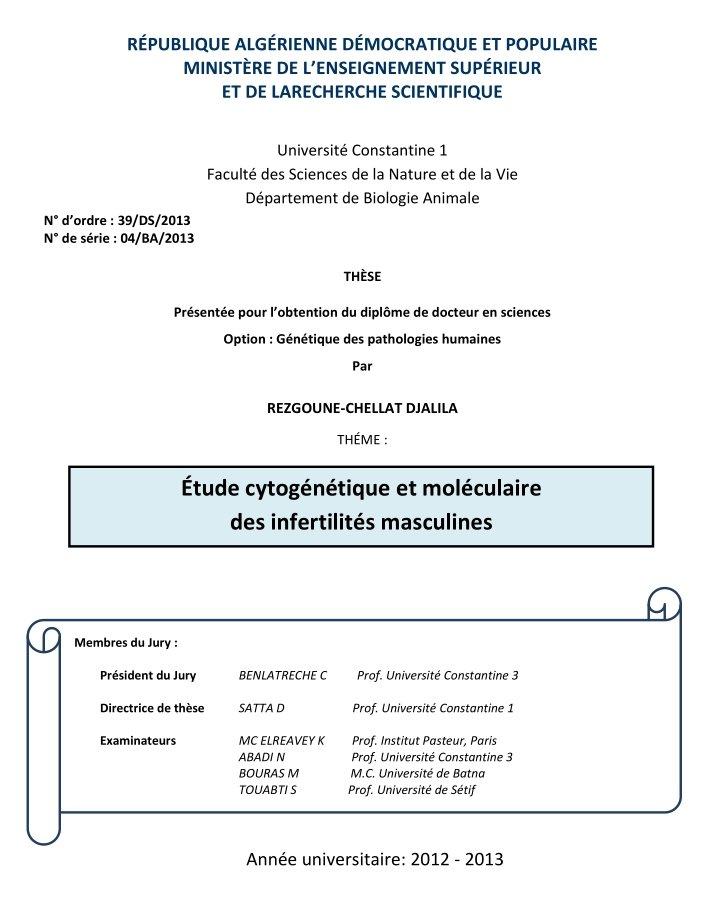 Thèse - Étude cytogénétique et moléculaire des infertilités masculines - Algérie - 2013 - PDF 19121507303744755