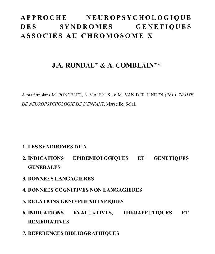 Approche neuropsychologique des syndromes génétiques associés au chromosome X - 2009
