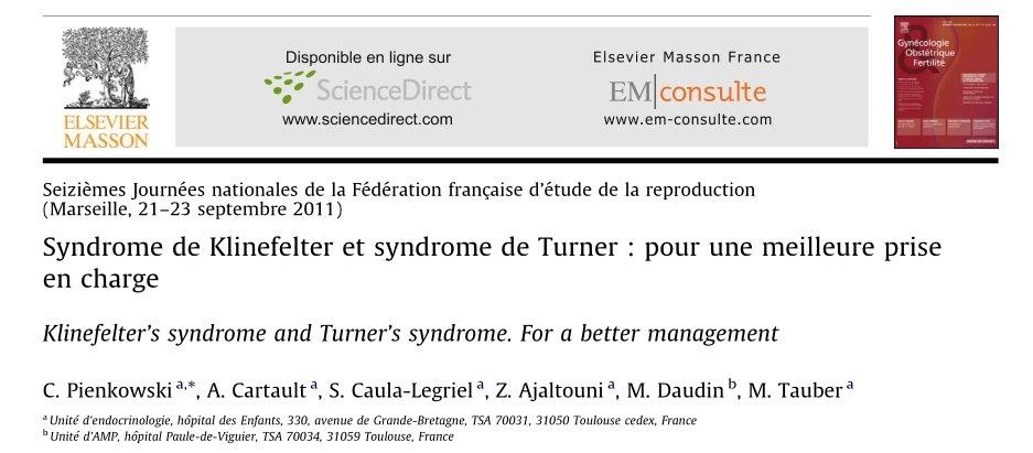 Syndrome de Klinefelter et syndrome de Turner - pour une meilleure prise en charge - 2011 - PDF 19121708115785906