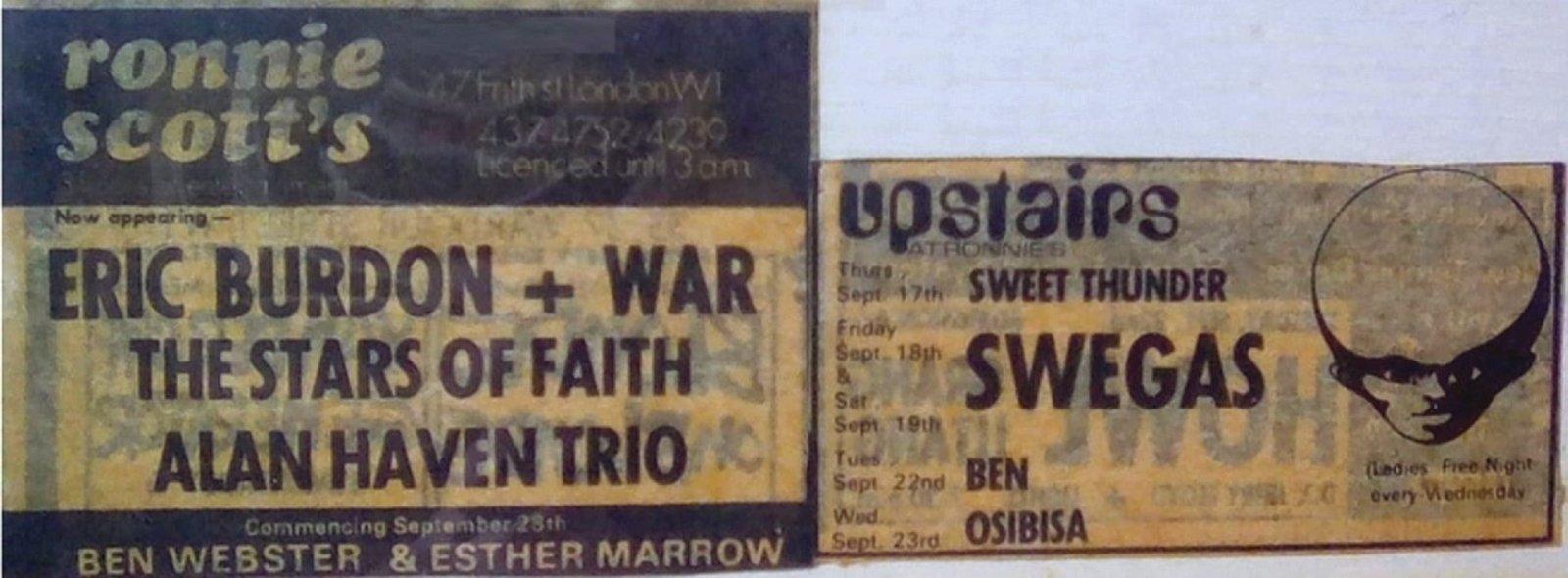 Londres (Ronnie Scott's) : 16 septembre 1970 200108092840416807