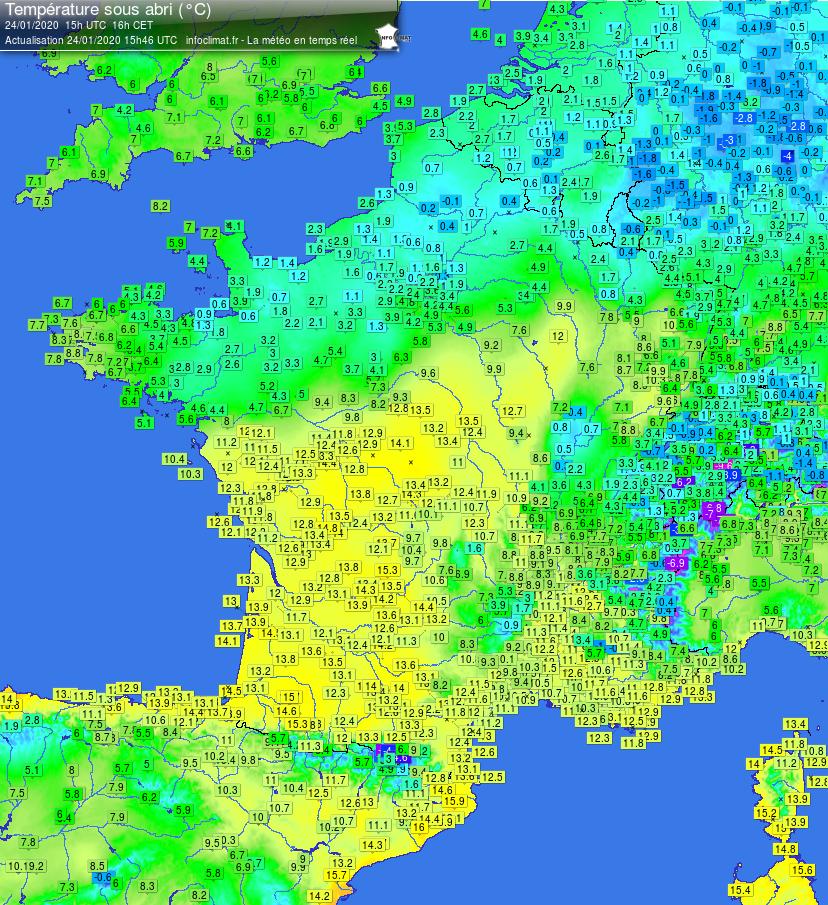Infoclimat carte températures France 2020-01-24 - 15h