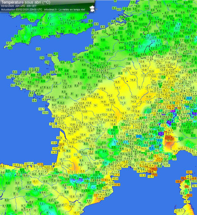 Infoclimat carte températures France 2020-02-03 - 22h