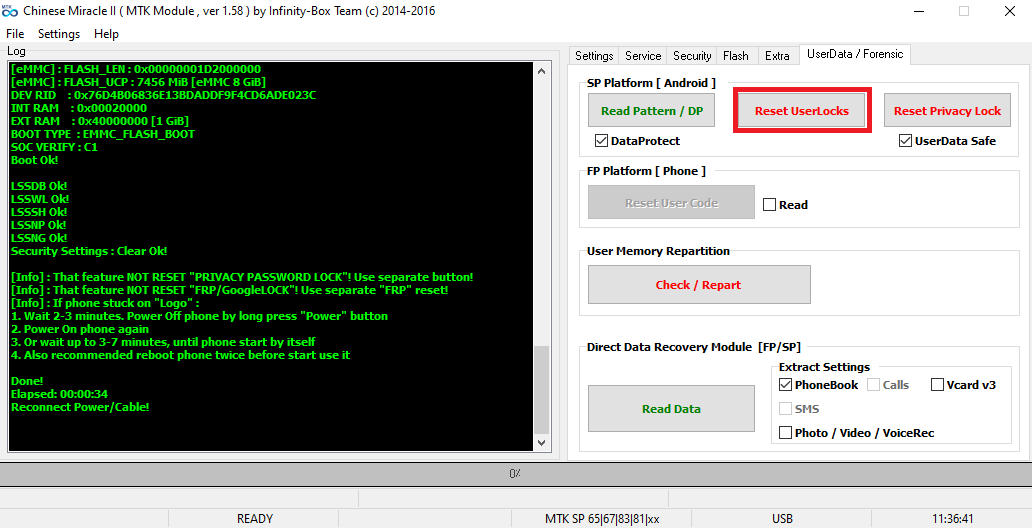 توضيح فك قفل جهاز  lg x230 k4 باستعمال CM2
