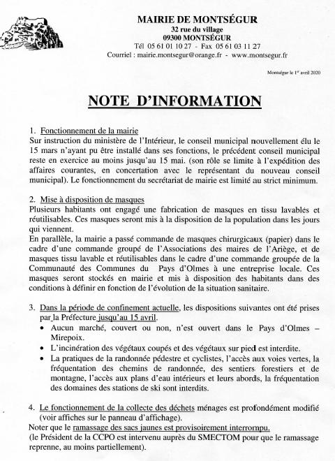 Note d'information dans Actualité locale 200402033152947163