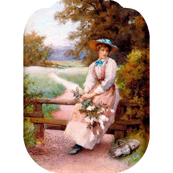 Femme assise fleurs