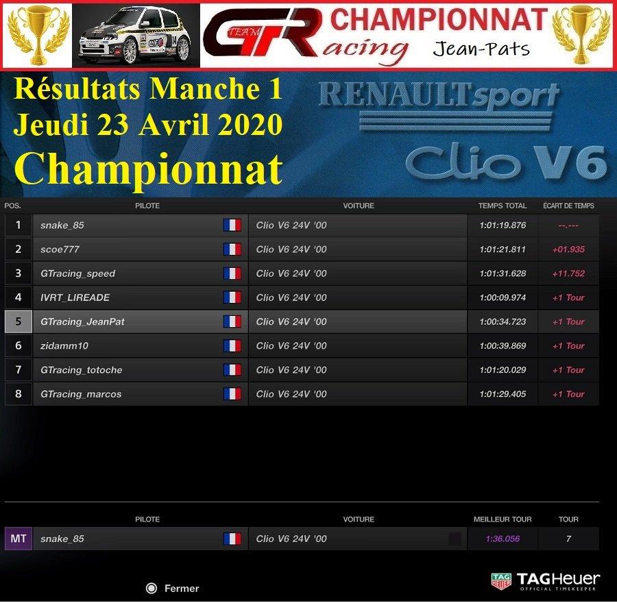 Résultats Manche 1 du Championnat Clio V6 le 23/04/2020 200424021737464460